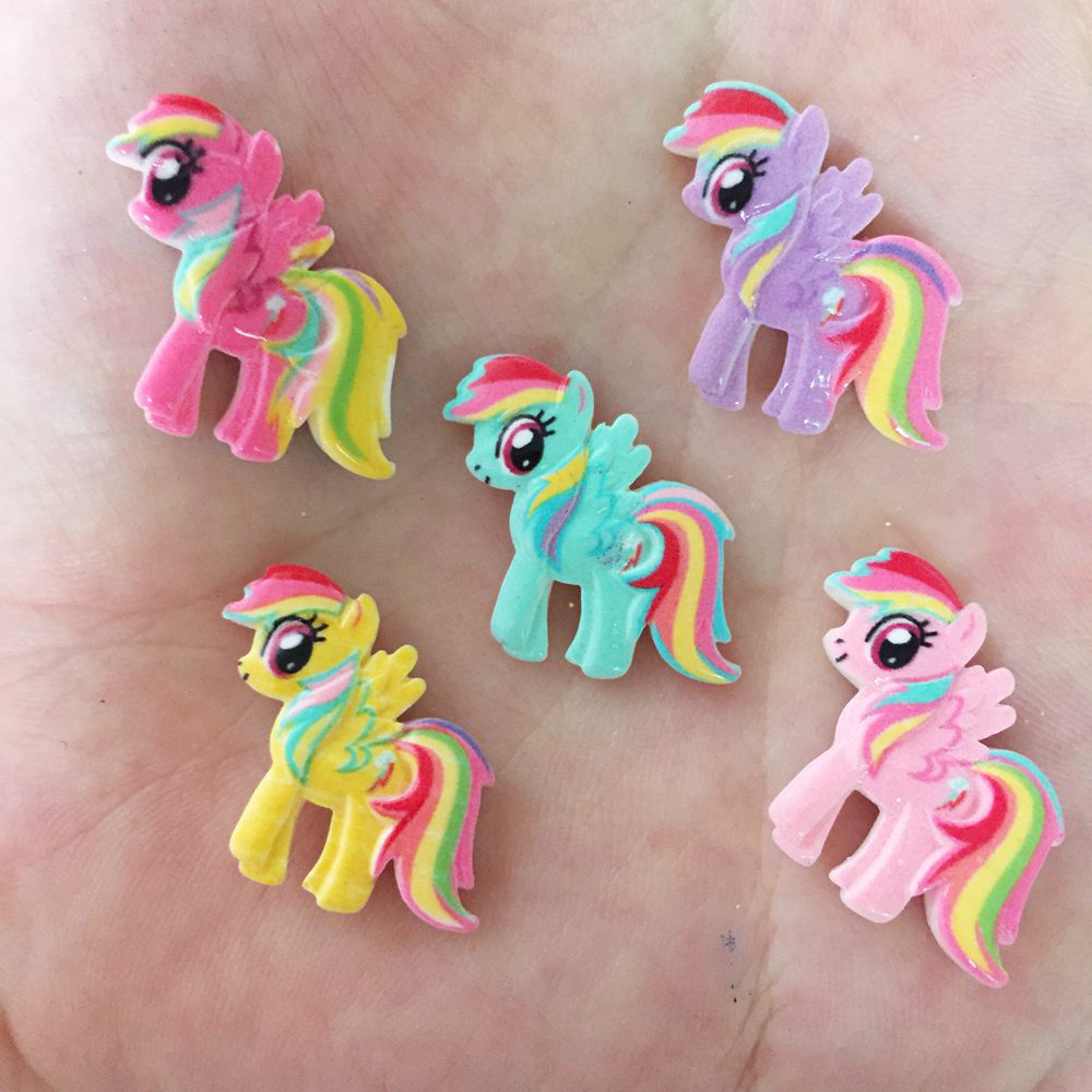 10PCS Resin Hand-paint Cute Horse Flatback Stone Child Scrapbook Buttons Crafts Random Color Mixing R73A