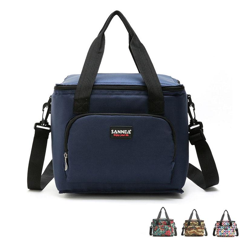 Large Lunch Cooler Bag Food Waterproof Picnic Travel Storage Icepack Bolsa Termica Flower Army Lunch Bags With Shoulder Belt