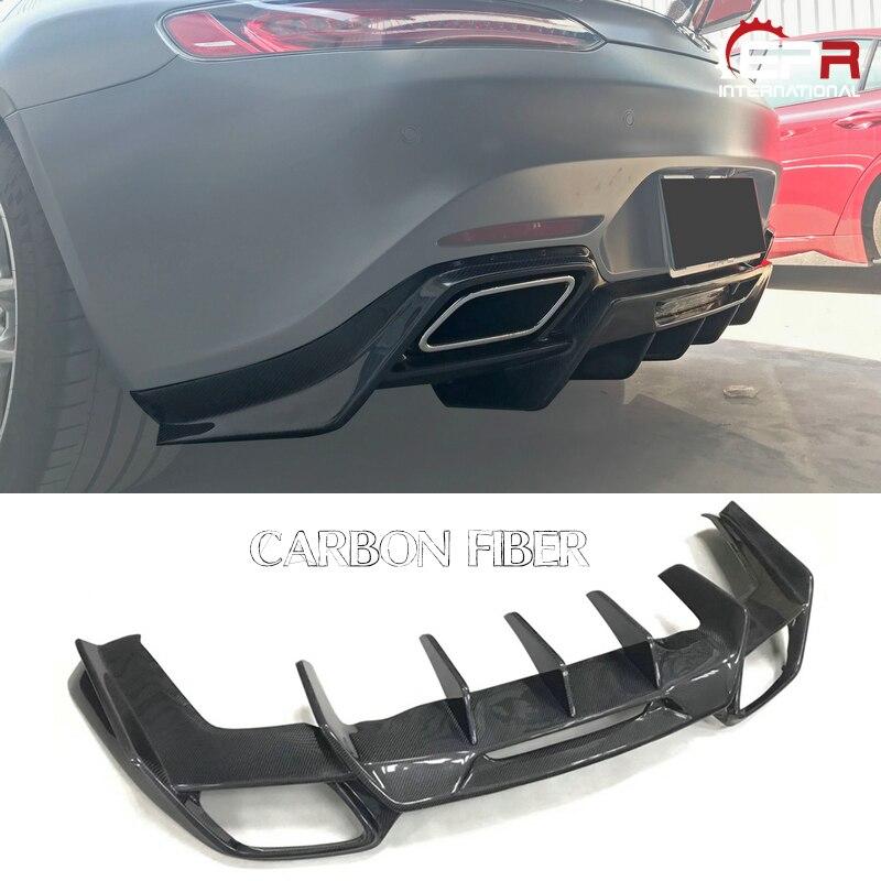 Otomobiller ve Motosikletler'ten Vücut Kitleri'de Araba styling Ren stil karbon Fiber arka difüzör parlak kaplama tampon Splitter dudak ayarlama seti Fiber Drift kiti benz AMG GT title=