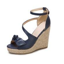 Sandálias femininas 2021 verão de sola grossa cunhas tamanho grande sexy moda casual salto alto aberto com os dedos grossos sapatos altos femininos