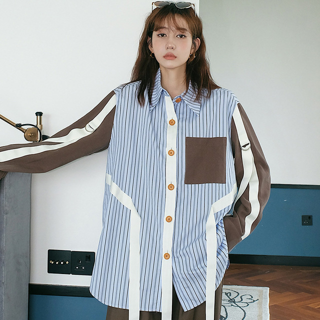 [EAM] Women Blue Ribbon Striped Big Size Blouse New Lapel Long Sleeve Loose Fit Shirt Fashion Tide Spring Summer 2020 1Z383