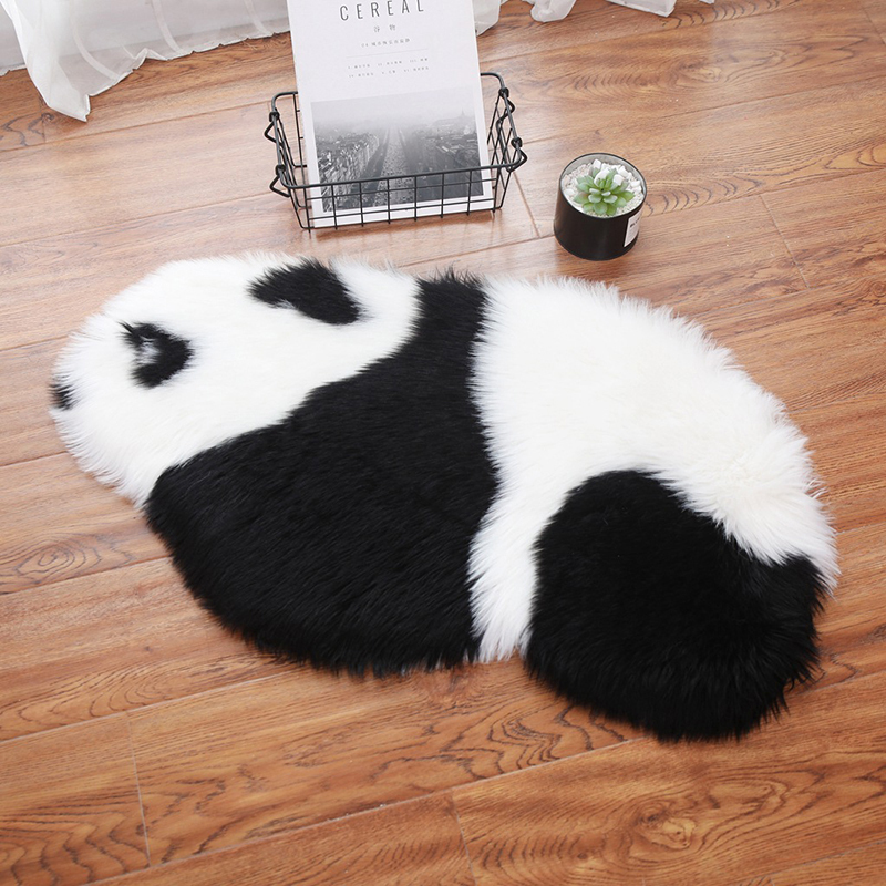 Cute Black And White Panda Rug Mats Hairy Carpet Panda Rug Plain Fluffy Bedroom Kids Baby Play Mat Pet Mat Home Bedroom Decor