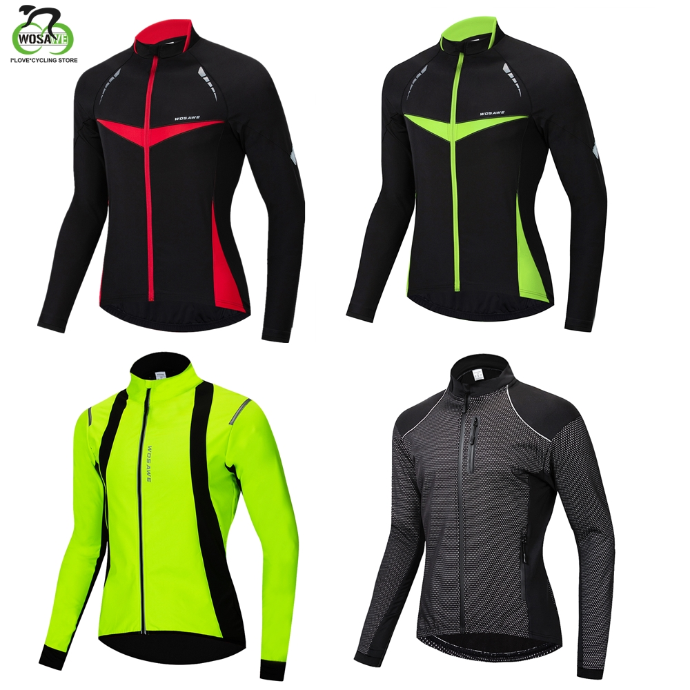 WOSAWE Thermal Cycling Jacket Reflective Winter Warm Up Bicycle Clothing Windproof Waterproof Soft shell Coat MTB Bike Jersey
