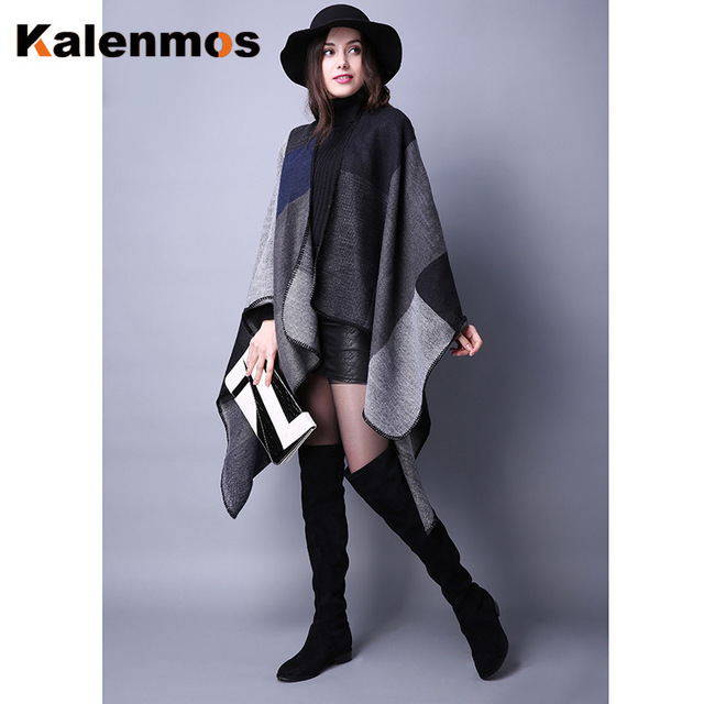 Blanket Scarf Fall Winter Thick Wrap Poncho Women Plaid Travel Shawl Imitation Cashmere Capes National Wind Fork Thicker Cloak 6