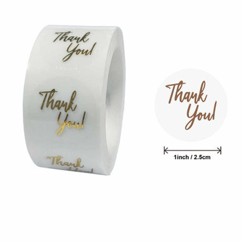 Clear Gold Foil Thank You Stickers For Small Business 500 Labels 1inch Wedding Pretty Gift Cards Envelope Sealing Label Stickers
