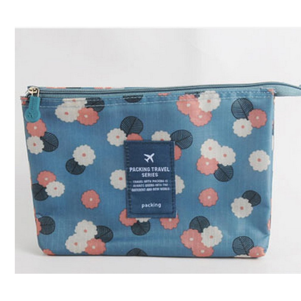 Multifunction Makeup Cosmetic Bag Case Waterproof Toiletry Pouch Storage Bag Tiny Things Travel Hand BagSapphire Flowers