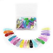 20/50Pcs Korean Kids Hair Clips 3/5cm Drop Shiny Hairpins Accessories for Girls Candy Solid Barrettes Glitter Headwear Box
