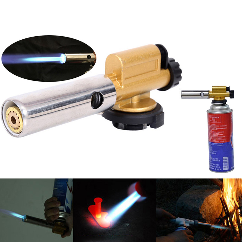 Flame Butan Gas Torch Burner Gun For Outdoor Camping Picnic BBQ Welding Equipment Electronic Ignition Copper Welding Torches