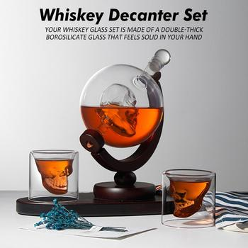 Whiskey Decanter Set Skull Shape Vodka Globe Decanter With 2 Glasses Liquor Dispenser With Wood Stand Wine Decanter