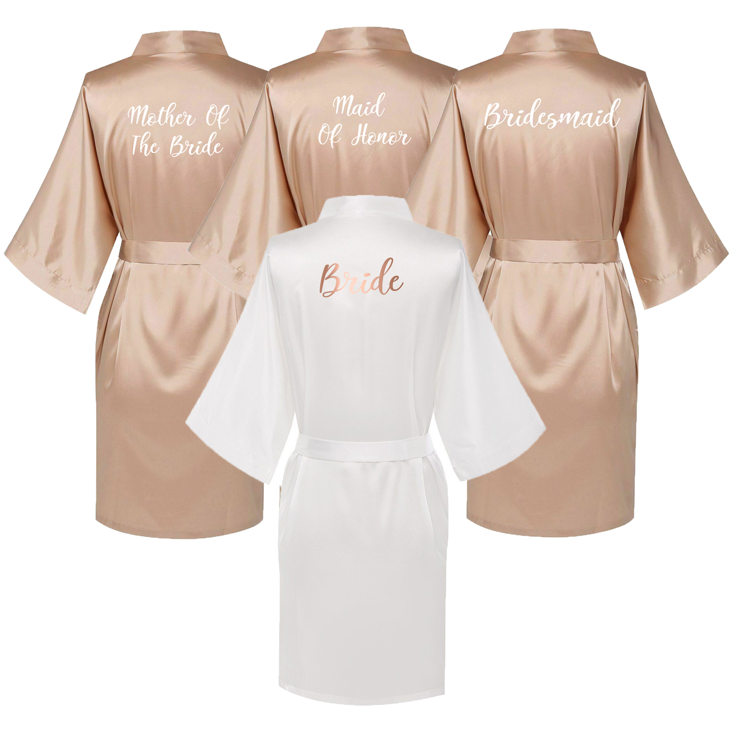 Owiter Satin Silk Robes Plus Size Wedding BathRobe Bride Bridesmaid Dress Gown Women Clothing Sleepwear Maid Of Honor Rose Gold