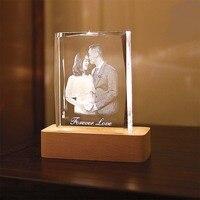 LED Night Light Customized Souvenirs Gift Decoration K9 Crystal Photos Frame Laser Engrave DIY Wedding Lover Baby Kids Crafts
