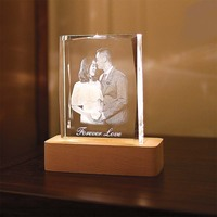LED Night Light Customized Souvenirs Gift Decoration K9 Crystal Photos Frame Laser Engrave DIY Wedding Lover Baby Kids Crafts