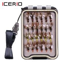 Icerio 24 pçs/caixa tenkara voar com caixa de mosca à prova d12 água 12 # gancho farpado truta pesca isca mosca