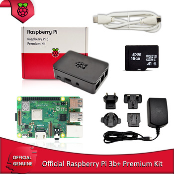 Official Raspberry Pi 3B+ premium kit with Raspberry Pi Power supply EU/UK/AU/US plug +RPI HDMI cable+case+16G TF card
