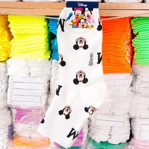 Дисней, женские носки, Мультяшные персонажи, хлопковые носки, Harajuku, женские, милые, унисекс, скейтборд, носки, хипстер, модные, с принтом Микки