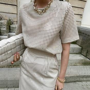 [EWQ]  Women Black Trend O Neck Mesh Hollow Out Leather Short Sleeve Top+High Waist Buttock Skirt Suit Spring Summer  45 1