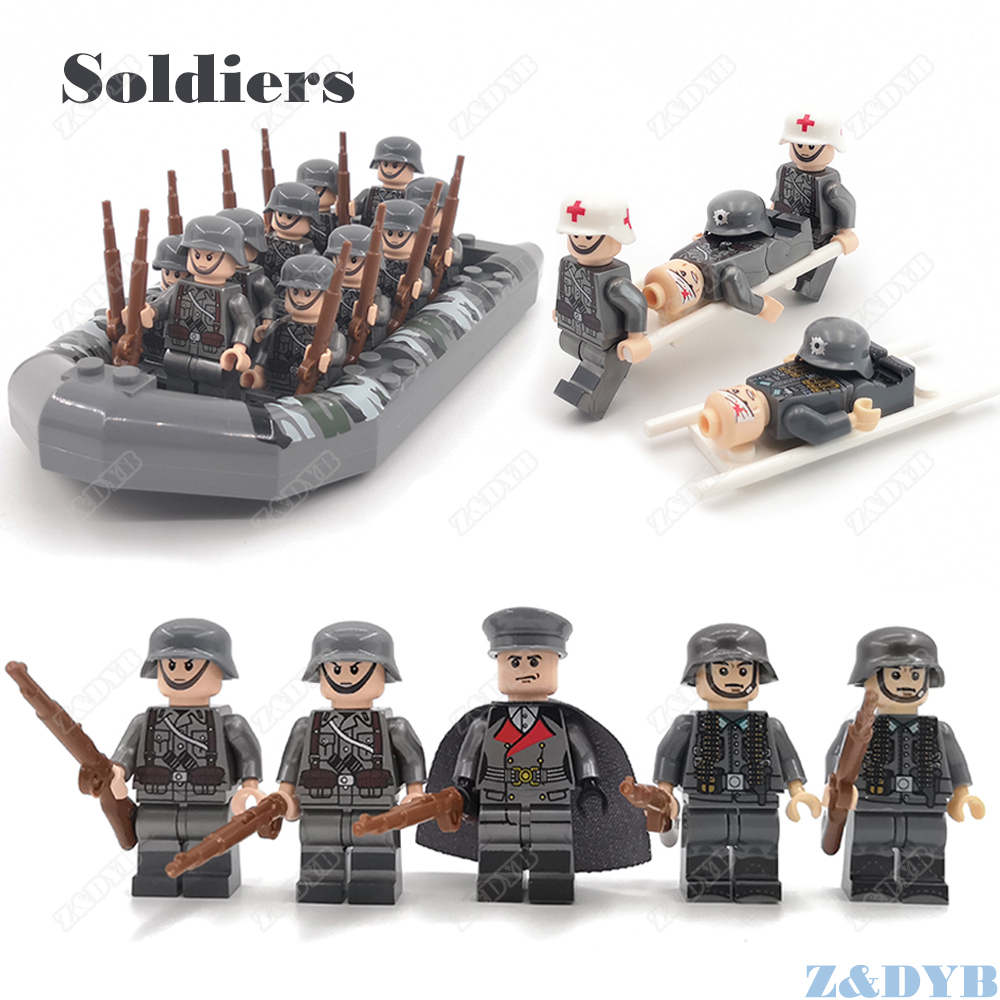 Military Sets WW2 Soldiers Medical Army Accessories USA Weapon Gun Figures Soviet Model Building Block Brick Legoed Children Toy