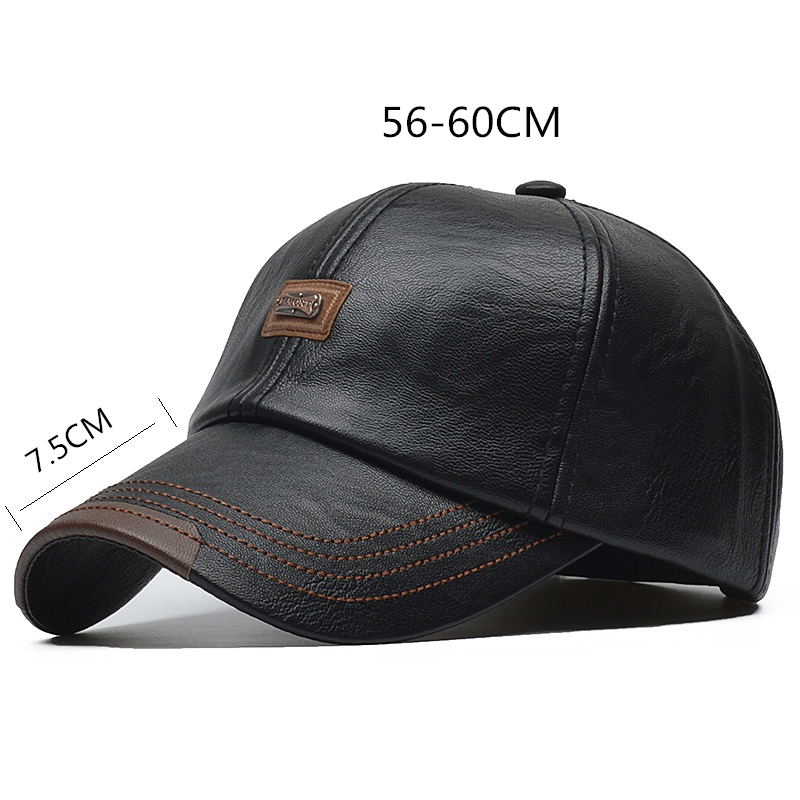 H7ab692d926be4019a21196934a5db69eL - [NORTHWOOD] Brand Autumn Winter Leather Baseball Cap Men Women Gorras Planas Snapback Hat Bone Masculino PU Leather Trucker Cap