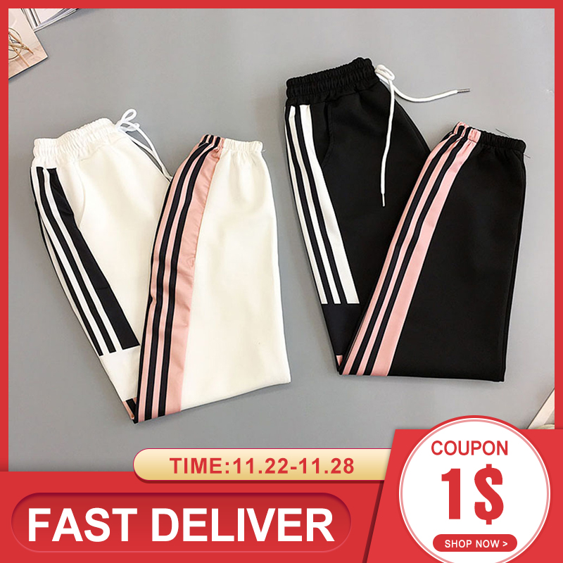 2019 New Black BF Style New Summer Streetwear Cool Girl Fashion Harajuku Hip Hop Pants Casual Pants Ankle Length Kpop Sweatpants