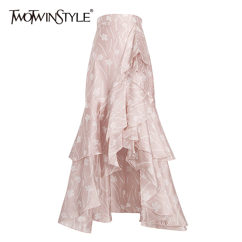 TWOTWINSTYLE Print Asymmetrical Women's Skirts High Waist Hit Color A Line Skirt Female 2020 Spring New Fashion Clothing