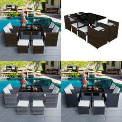 PANANA 8 SEATS FAMILY RATTAN GARDEN FURNITURE CUBE SET CHAIRS TABLE OUTDOOR PATIO WITH CUSHION FAST DELIVERY