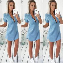 Housse d'été Ups Femmes Robe manches Courtes Col En V Mince denim robes Dames Sexy Jeans Décontractés Robe Vestidos Robe Robes De Soirée