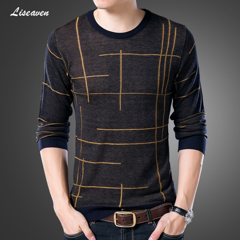 Liseaven 2019 Mens Pullovers Autumn Winter Men Sweater O-Neck Sweaters Men's Long Sleeve Pullover Clothing Men