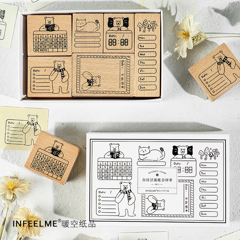Vintage Handbook Planner Function Series Decoration Bear Stamp Wooden Rubber Stamps Scrapbooking Stationery DIY Craft Standard