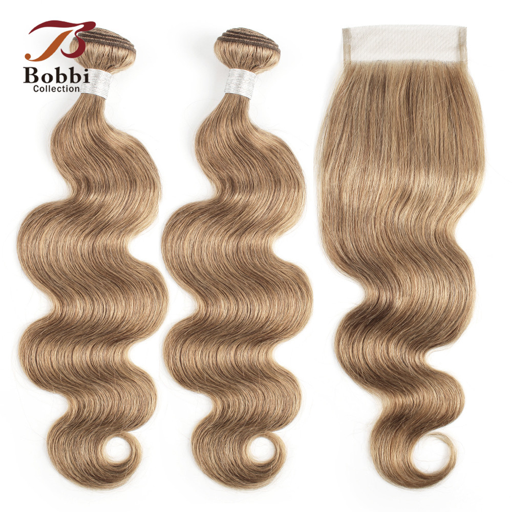 Bobbi Collection Brazilian Body Wave Hair Weave Bundles With Closure Color 8 Ash Blonde Non-Remy Human Hair Long Wavy Style