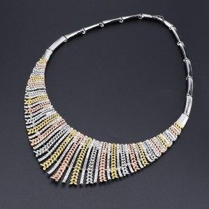 Image 3 - Модный свадебный комплект ювелирных изделий из Дубая, Африки, Нигерии, Африки, посеребренное ожерелье, серьги, набор романтических женских свадебных ювелирных изделий