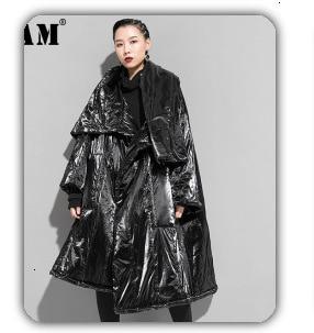 H7ab6f83e7859436487e37cf7a25dc9ccC [EAM] Loose Fit Black Hollow Out Pin Spliced Jacket New Lapel Long Sleeve Women Coat Fashion Tide Autumn Winter 2019 JZ500