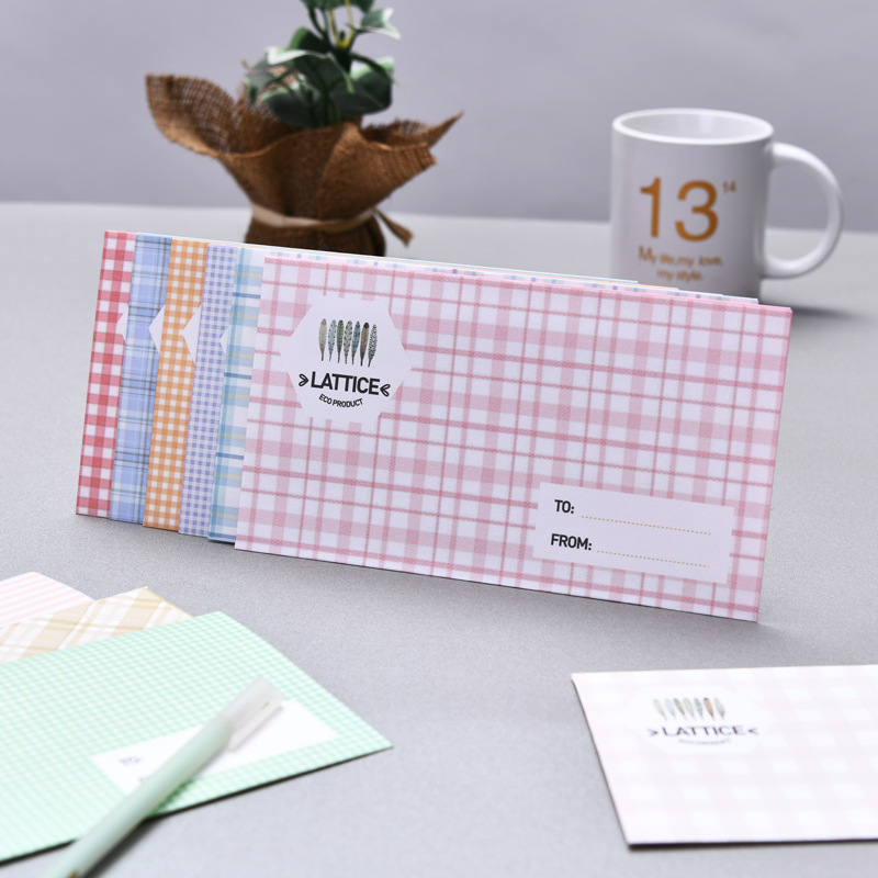 Europe And Korea Stationery Japanese Style Plaid Envelope Hipster Postcard Storage Simple Color Creative Paper Bag Warm Colors