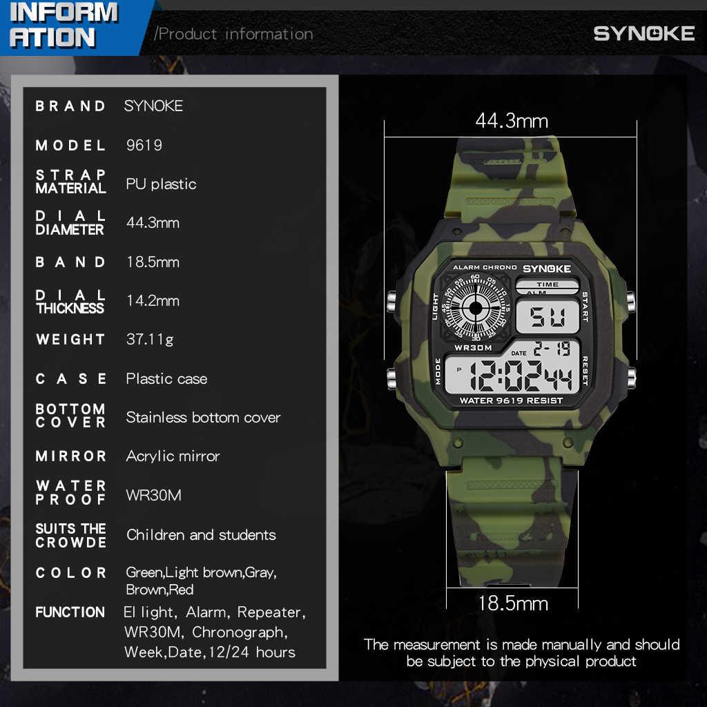 SYNOKE Digital untuk Pria Kamuflase Hijau Militer Tahan Air Elektronik Jam Pria LED Display Jam Tangan Jam Alarm