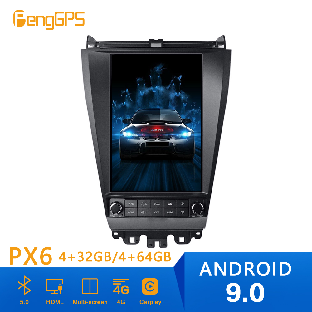 PX6 Android 9.0 4GB DSP Tesla style Car <font><b>GPS</b></font> navigation <font><b>For</b></font> <font><b>Honda</b></font> <font><b>Accord</b></font> 7 multimedia head unit radio tape recorder radio android image