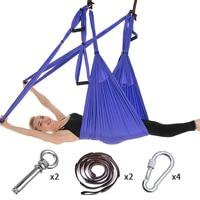 Full Set 6 Handles Anti-gravity Aerial Yoga Ceiling Hammock Flying Swing Trapeze Yoga Inversion Device Home GYM Hanging Belt