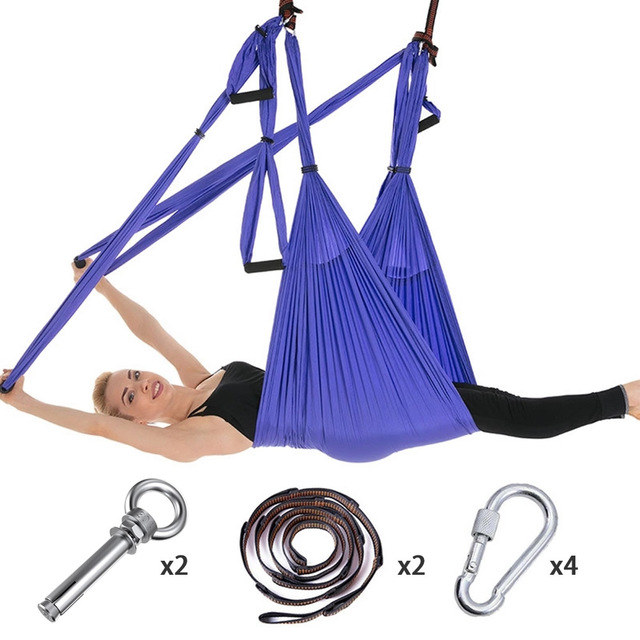 Volledige Set 6 Handgrepen Anti Zwaartekracht Antenne Yoga Plafond Hangmat Vliegende Swing Trapeze Yoga Inversie Apparaat Home Gym Opknoping riem