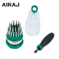Juego de destornillador AIRAJ 31 en 1, Kit de reparación de herramientas de mano multifunción, reloj de tableta para teléfono móvil, destornillador de precisión para el hogar