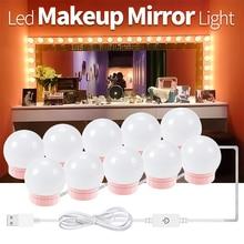 цена на Makeup Mirror lampadas de parede Led Hollywood Vanity Makeup Table Lamp USB Port 10 14 Bulbs Kit Dressing Room Mirror Wall Light
