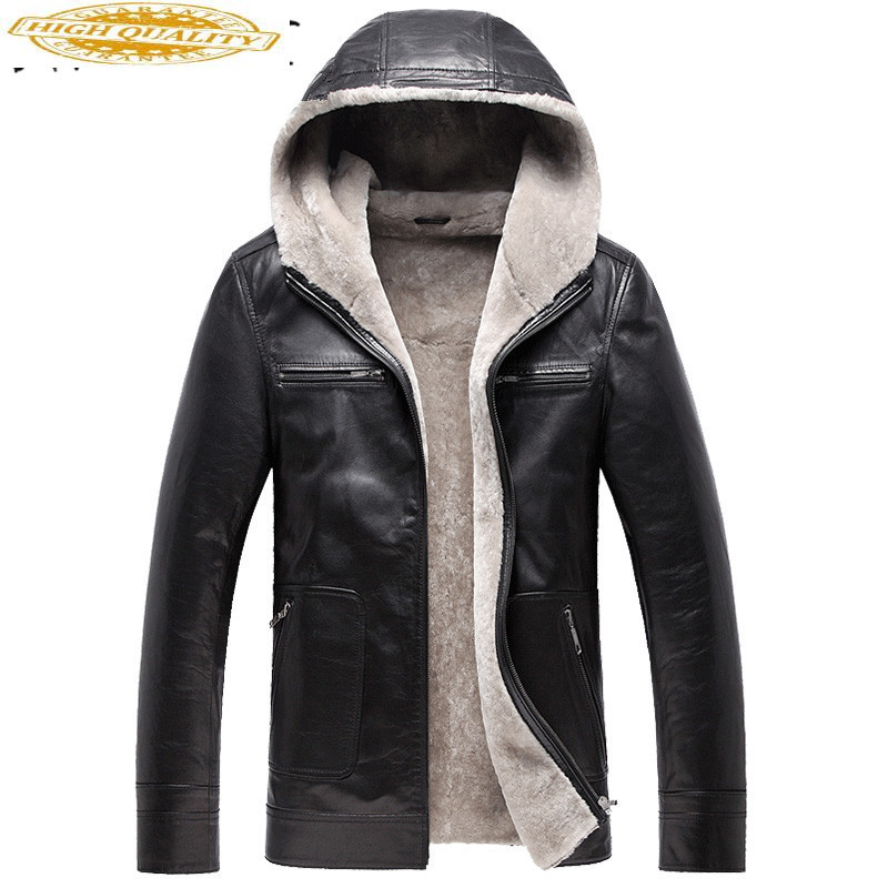 Men's Leather Jacket Coat Winter Jackets For Men Sheepskin Jacket Hooded Collar Quality Genuine Leather Coats YYJ0054