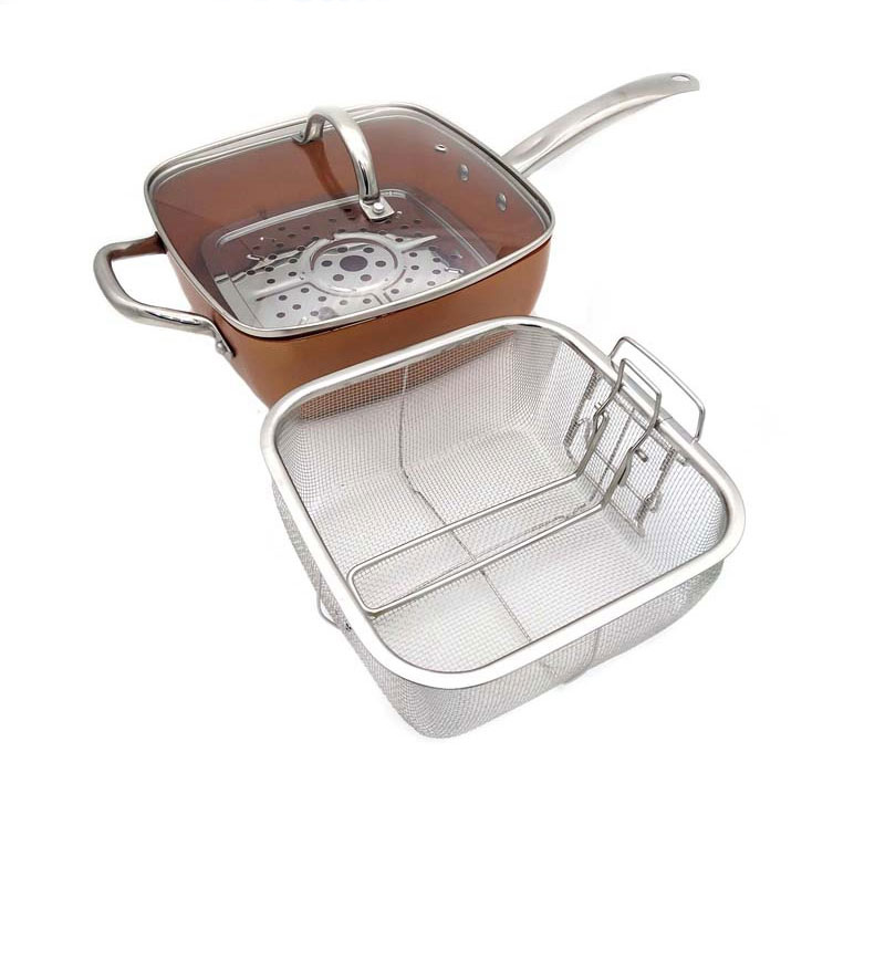 Copper Square Pan Induction Glass Lid Fry Basket With Stainless Steel Handle, Steam Rack 4 Piece Set, 9.5 Inches