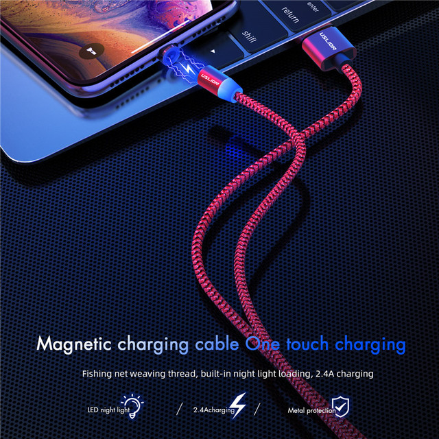 Magnetic Micro USB Cable for Samsung, iPhone XS XR 8, Type-C Android Mobile Phone