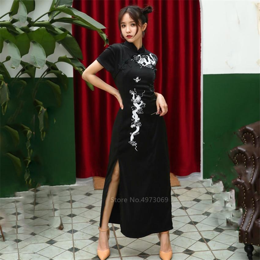 Vestido chinês emboridery dragão qipao vintage festa de noite vestido longo robe cheongsam tradicional para as mulheres preto sexy gótico