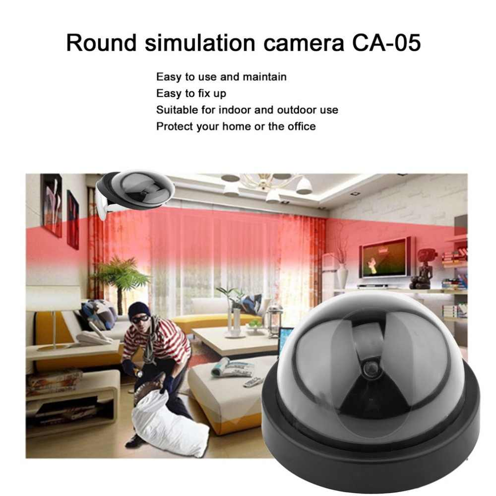 กล้องปลอมไร้สายจำลองการเฝ้าระวังวิดีโอในร่ม/กลางแจ้งDummy Domeกล้องกระพริบไฟLedสีแดงHome Security