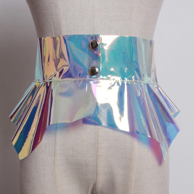 2020 High Fashion Waistband Female Tide PVC Corset Belt New Design Belts For Women Stylish Wide Belt Solid Flounced Belt ZK577