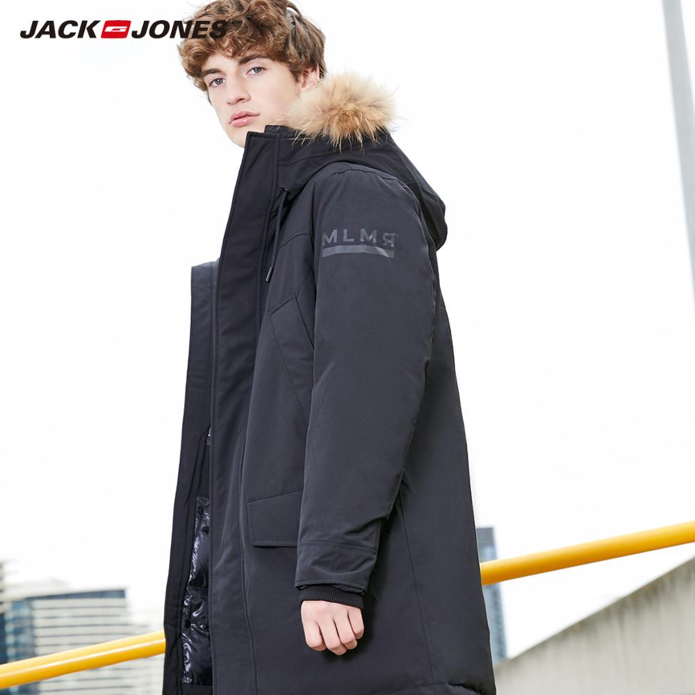 MLMR Men's Winter Fur Collar Hooded Long Down Jacket Hoodie Outerwear Parka Coat JackJones Menswear Brand 218312517