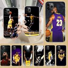 Lebron basquete james rei 23 caso de telefone capa para iphone 5 5S 6s plus 7 8 12 mini x xr xs 11 pro se 2020 max transparente