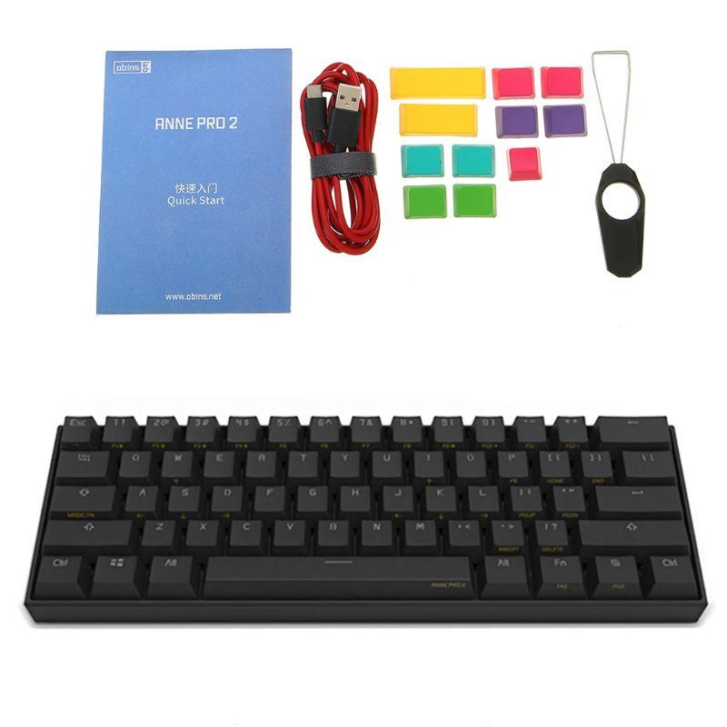 Anne Pro 2 60% NKRO Bluetooth 4.0 type-c RGB 61 touches clavier de jeu mécanique commutateur cerise commutateur Gateron