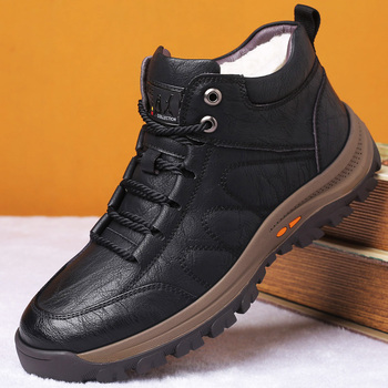 Winter Men s Wool Fur Boots Outdoor Thick Composite Sole Casual Shoes Cowhide Leather Designer