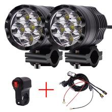 2x LED White Motorcycle Headlight Spot Light DRL Driving Fog Lamp Waterproof 12-24V + Wiring Harness Hot Selling