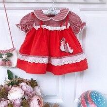 2 個女の赤ちゃんの夏半袖赤チェック柄アヒル刺繍ドレスとパンツトルコイングランドヴィンテージプリンセススタイル
